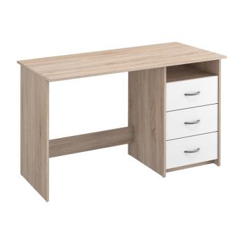 Písací stôl dub/perleťovo biela