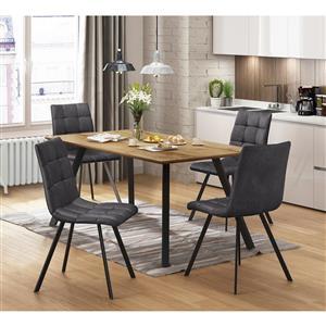 Jedálenský stôl BERGEN dub + 4 stoličky BERGEN sivé mikrovlákno