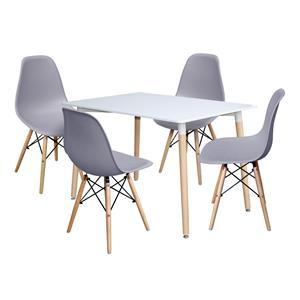 Jedálenský stôl 120x80 UNO biely + 4 stoličky UNO sivé