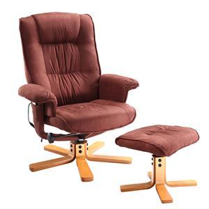 Relaxačné masážne kreslo s podnožkou hnedé K47